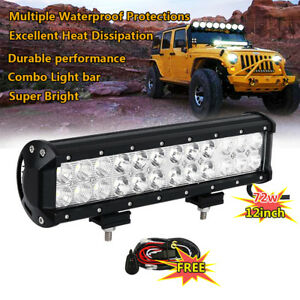 12 Inch 72w Cree Led Work Light Bar Flood Spot Suv Driving Lamp Offroad Harness