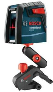New Bosch Gll 30 Crossline Laser With Clamp Mount Self Leveling 2793248