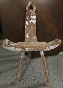 Antique Vtg Wood Birthing Milking Chair Stool Primitive Rough Three Legs