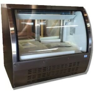 Select Xdc120 47 Curved Glass Deli Case Refrigerated Stainless Steel Top