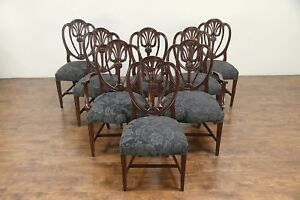 Set Of 8 Shield Back Mahogany Vintage Dining Chairs New Upholstery 30150