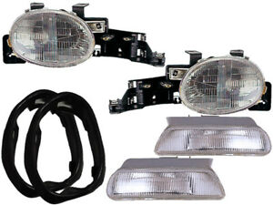Headlights 4pc W Gaskets Halogen Chrome Set For 1995 1999 Dodge Neon