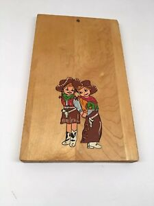Vintage Hand Painted Cowboy Cowgirl Cutting Board Antique Artwork