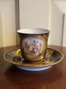Antique Sevres 1771 Porcelain Battle Of Rocroi Handpainted Blue Cup And Saucer