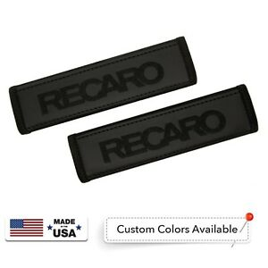 Recaro Leather Custom Black Logo Embroidery Car Seat Belt Covers Shoulder Pads