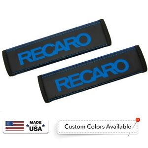 Recaro Leather Custom Blue Logo Embroidery Car Seat Belt Covers Shoulder Pads