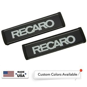 Recaro Leather Custom Gray Logo Embroidery Car Seat Belt Covers Shoulder Pads