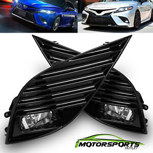 For 2018 2019 Toyota Camry Se Xse Clear Lens Fog Lights Pair W switch harness