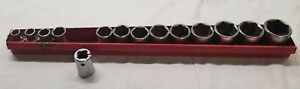 Mac Tools 14 Pc Sae 1 2 Drive 6pt Shallow Socket Set W Red Holder