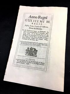 Parliament Act 1695 William Iii Reign England Scotland France And Ireland