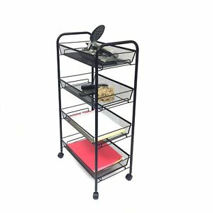 Mind Reader roll Rolling Metal Mesh 4 Shelf Cart Black
