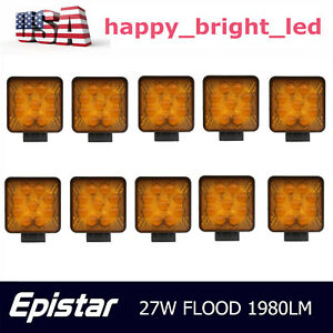 10x 27w Flood Square Led Work Light Offroad Boat Yellow Warning Lamp Truck 5d