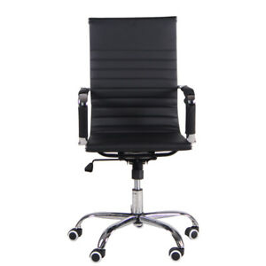New Executive High Back Home Office Pu Leather Desk Seat Swivel Task Chair Black