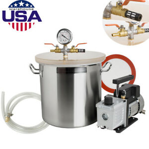 Pro 5 Gallon Vacuum Degassing Chamber Silicone Kit W 3 Cfm Pump Hose usa