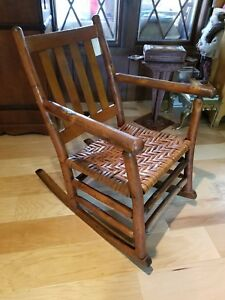 Antique Signed Old Hickory Martinsville Rocker Rocking Chair Rustic Lodge Style