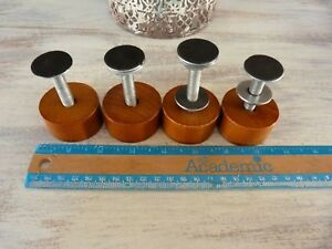 Set Of 4 Wood Furniture Casters Wheels Rollers