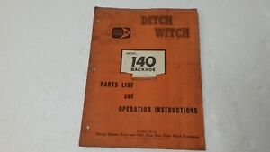 Ditch Witch 140 Backhoe Operators Parts Manual Ci62