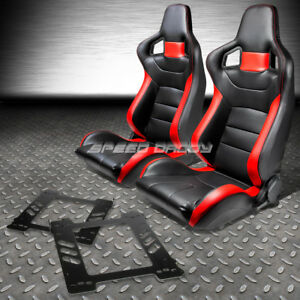 Black red Pvc Leather Sports Style Racing Seats bracket for 92 99 Bmw E36 Coupe