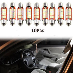 10pc 36mm 4014 12 Smd Led Festoon Dome Lamp Car License Plate Light New