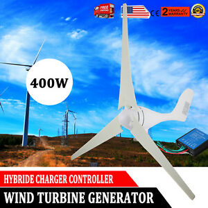 400w Max Power 3 Blades Dc 12v Wind Turbine Generator Kit With Charge Controller
