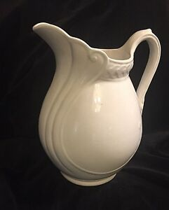 Lovely Large Antique Pitcher White Stone China Ironstone 19c Wash