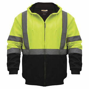 Class 3 Hi vis Hooded Soft Shell Parka Lime black Xl uhv425