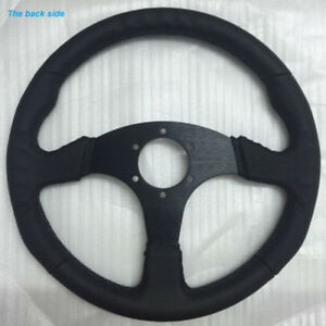 14 350mm Black Leather Flat Style Steering Wheel For Racing Omp Drift Rally New