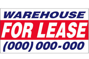 Warehouse For Lease Vinyl Banner Custom Sign 3x8 Ft add Your Phone