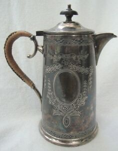 Antique Epbm Silver Plated Hot Water Jug Coffee Pot Plaited Rush Handle 8453