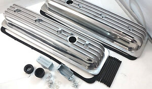Sb Chevy Sbc Polished Finned Center Bolt Aluminum Valve Cover Kit 305 350 87 95