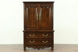 Country French Vintage Oak Tall Chest Armoire Chifferobe Signed Hickory 28618