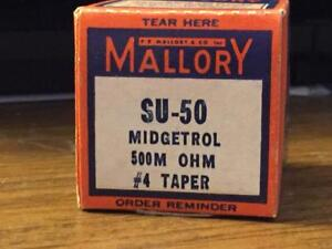 8 Vintage mallory su 50 Midgetrol 500m Ohm 4 Taper New Old Stock In Boxes