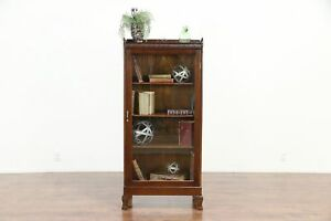 Oak Antique Bookcase Display Or Bath Cabinet Glass Door 30173