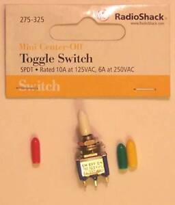 Radioshack 275 325 Mini Spdt Toggle Switch 10a At 125vac Green Red Yellow White