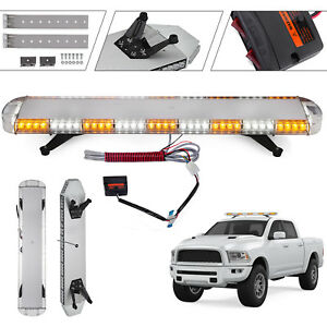 88 Led Strobe Light Bar Emergency Beacon Warn 47ft White Controller 20 Pods