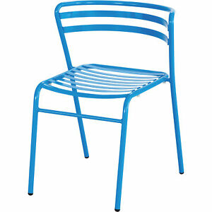 Mayline Safco Cogo Steel Outdoor indoor Stack Chairs 1 Pair Blue Model 4360bu