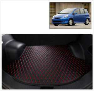 2007 15 Fit Rear Cargo Liner Tray Leather Black Red Trunk Floor Mat Cover Honda