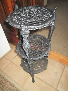 Antique Vintage Holly Wood Regency 3 Tier Black Cast Iron Plant Stand