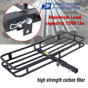 53 Folding Cargo Carrier Luggage Basket Mounted Rack 2 Receiver Hitch 1500lbs