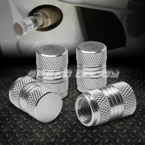 4 X Aluminum Metal Tire Rim Valve Wheel Air Port Dust Cover Stem Cap Caps Silver