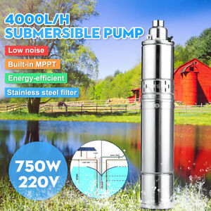 220v 750w 4000l h Stainless Steel Mppt Submersible Water Pump Bore Deep Well 75m