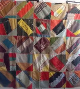 Antique Quilt Great Old Crazy Multi Color Cotton Wool Fabrics W Embroidery
