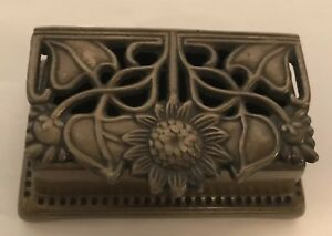 Art Nouveau Solid Brass Stamp Holder Hinged Box Trinket Desk Ornament Silvestri