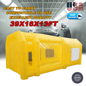 39x16x13ft Large Mobile Portable Yellow Inflatable Car Spray Paint Booth Tent Us