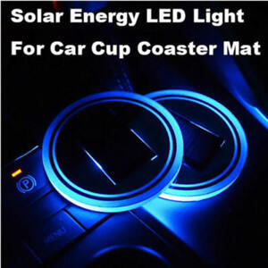 1 X Solar Cup Pad Car Accessories Led Light Cover Interior Decor Lights