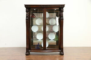 Oak Antique Curved Glass China Curio Display Cabinet Angels Or Cherubs 30208