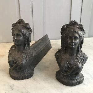 Pair Antique French Cast Iron Firedogs Fire Dogs Elegant Ladies
