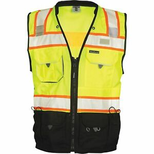 Ml Kishigo Men s Class 2 High Vis Surveyors Vest Lime black 4xl