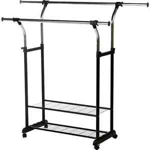 Instyledesign Mobile Double Rail Clothes Rack With Utility Shelves