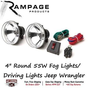 5083059 Rampage Set Of 2 4 Round 55w Fog Lights Driving Lights Jeep Wrangler